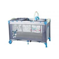 Babygo-Bgo-4404-Patut Pliant Cu 2 Nivele Sleepwell Blue - BBBBGO-4404