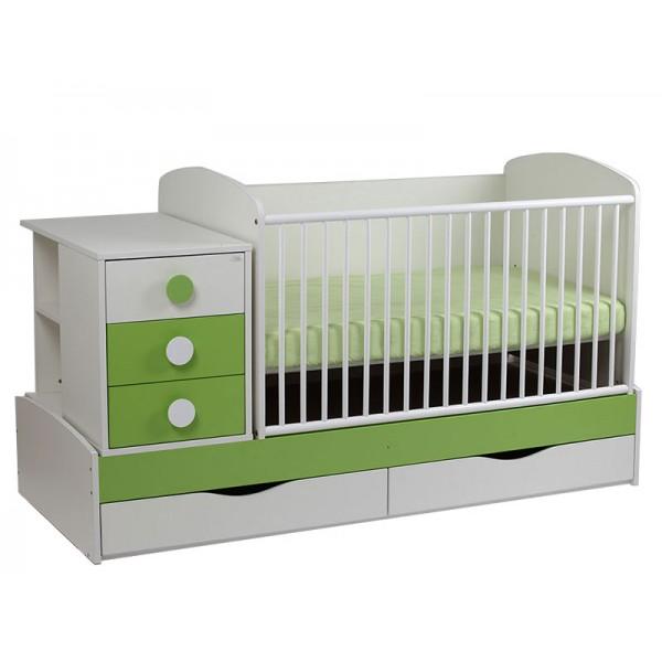 Patut Copii Transformabil MyKids Silence Alb-Verde 7100 - MYK00007100