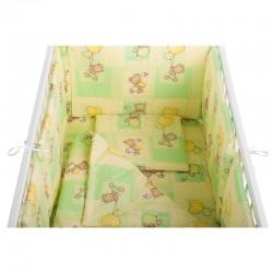 BabyNeeds - Lenjerie patut 5 piese 120x60 cm, Ursuleti colorati, Verde - BYNBN52