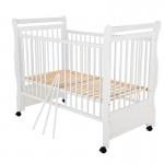 BabyNeeds - Patut din lemn Jas 120x60 cm, Alb + Saltea 8 cm - BYNBOJAS8CM01AL