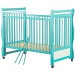 BabyNeeds - Patut din lemn Jas 120x60 cm, cu laterala culisanta, Mint+ Saltea 8 cm - BYNBOJAS8CM03MIN
