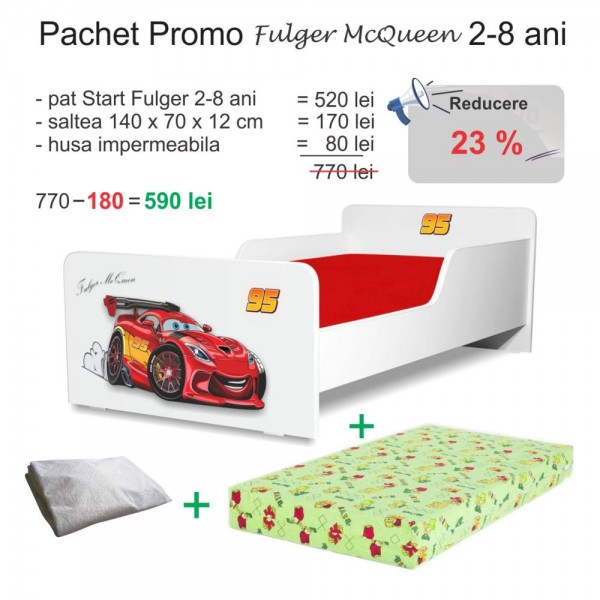 Pachet Promo Pat copii Start Fulger McQueen 2-8 ani - PC-PCH-PRO-STR-FLG-70