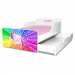 Pat copii Rainbow Unicorn 2-12 ani cu sertar si saltea cadou - PC-P-MK-RPFR-SRT-80