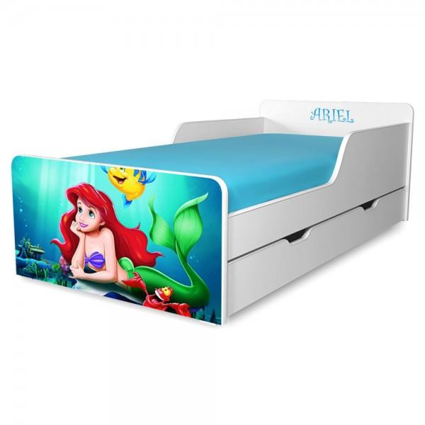 Pat copii Sirena Ariel 2-12 ani cu sertar si saltea cadou - PC-P-MK-ARL-SRT-80