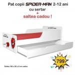 Pat copii Spiderman 2-12 ani cu sertar si saltea cadou - PC-P-MK-SPM-80