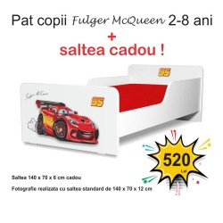 Pat copii Start Fulger McQueen 2-8 ani cu saltea cadou - PC-P-MOK-FLG-70