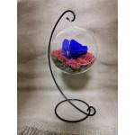 Trandafir criogenat Albastru in glob cu suport negru - HUI1202