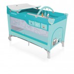 Baby Design Dream 05 turquoise 2018 - Patut pliabil cu 2 nivele - BBSBD18DR05