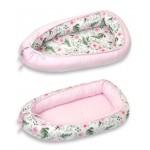 Baby Nest reversibil, multifunctional pentru bebelusi, Rose Garden Pink, 70 x 45 cm - PJB63487